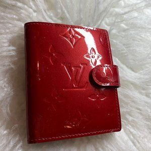 Louis Vuitton Monogram Vernis Red Leather Wallet